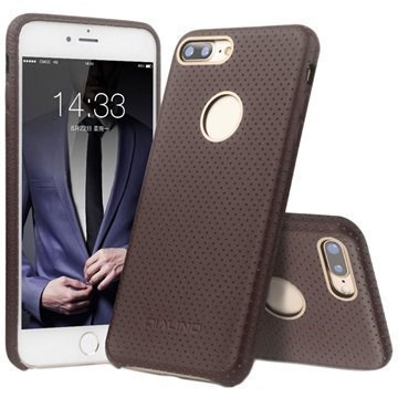 iPhone 7 Plus Qialino Mesh Leather Case Coffee