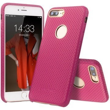 iPhone 7 Plus Qialino Mesh Leather Case Hot Pink