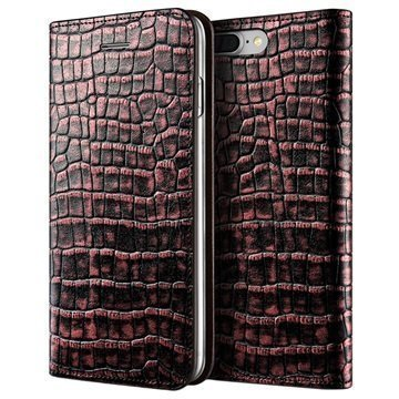 iPhone 7 Plus VRS Design Croco Diary Lompakkokotelo Pinkki