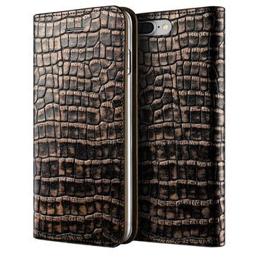 iPhone 7 Plus VRS Design Croco Diary Lompakkokotelo Tumma Kulta