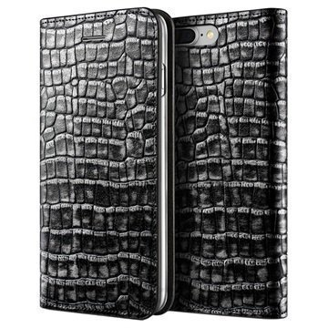 iPhone 7 Plus VRS Design Croco Diary Lompakkokotelo Tummanhopea