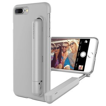 iPhone 7 Plus VRS Design Cue Stick Selfiekeppi-Suojakotelo Vaaleanharmaa