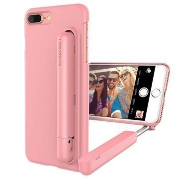 iPhone 7 Plus VRS Design Cue Stick Selfiekeppi-Suojakotelo Vaaleanpunainen
