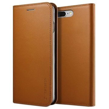 iPhone 7 Plus VRS Design Diary Nahkalompakko Kotelo Ruskea