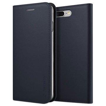 iPhone 7 Plus VRS Design Diary Nahkalompakko Kotelo Tummansininen
