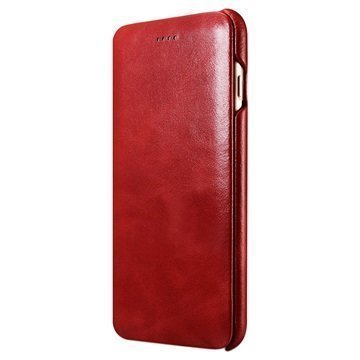 iPhone 7 Plus iCarer Curved Edge Vintage Flip Leather Case Red