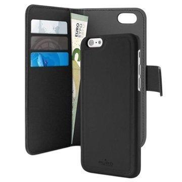 iPhone 7 Puro Detachable Lompakkokotelo Musta