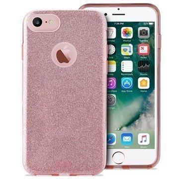 iPhone 7 Puro Glitter Kotelo Ruusukulta