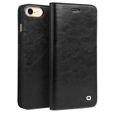 iPhone 7 Qialino Classic Lompakkomallinen Nahkakotelo Musta