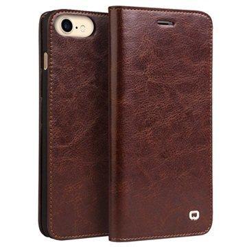 iPhone 7 Qialino Classic Lompakkomallinen Nahkakotelo Ruskea