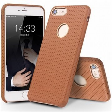 iPhone 7 Qialino Mesh Leather Case Brown