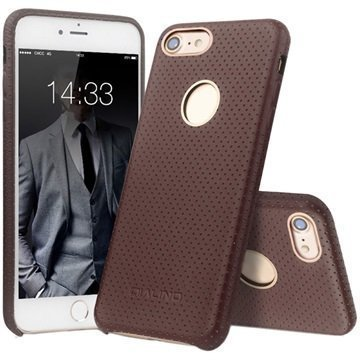 iPhone 7 Qialino Mesh Leather Case Coffee