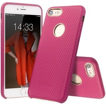 iPhone 7 Qialino Mesh Leather Case Hot Pink