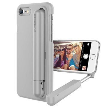 iPhone 7 VRS Design Cue Stick Selfiekeppi-Suojakotelo Vaaleanharmaa
