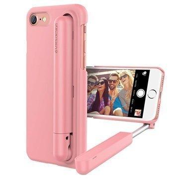 iPhone 7 VRS Design Cue Stick Selfiekeppi-Suojakotelo Vaaleanpunainen