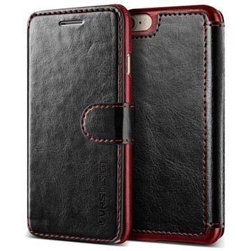 iPhone 7 VRS Design Dandy Layered lompakkokotelo Musta / Viininpunainen
