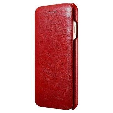 iPhone 7 iCarer Curved Edge Vintage Nahkainen Läppäkotelo Punainen