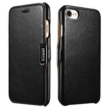 """iPhone 7 iCarer Luxury nahkainen läppäkotelo â"""" Musta"""