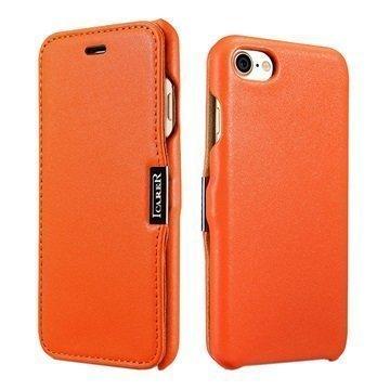 """iPhone 7 iCarer Luxury nahkainen läppäkotelo â"""" Oranssi"""