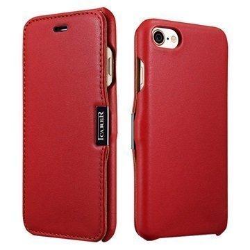 """iPhone 7 iCarer Luxury nahkainen läppäkotelo â"""" Punainen"""