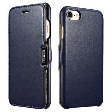 """iPhone 7 iCarer Luxury nahkainen läppäkotelo â"""" Tummansininen"""