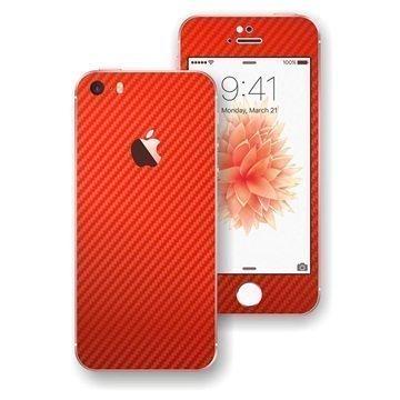 iPhone SE EasySkinz 3D Textured Carbon Fibre Skin Punainen