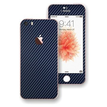 iPhone SE EasySkinz 3D Textured Carbon Fibre Skin Tummansininen