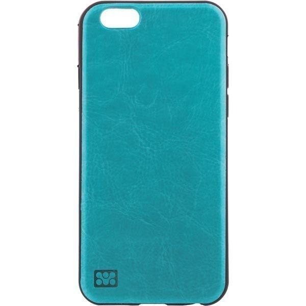 promate Lanko-i6 muovikuori iPhone 6:lle nahkatausta turkoos