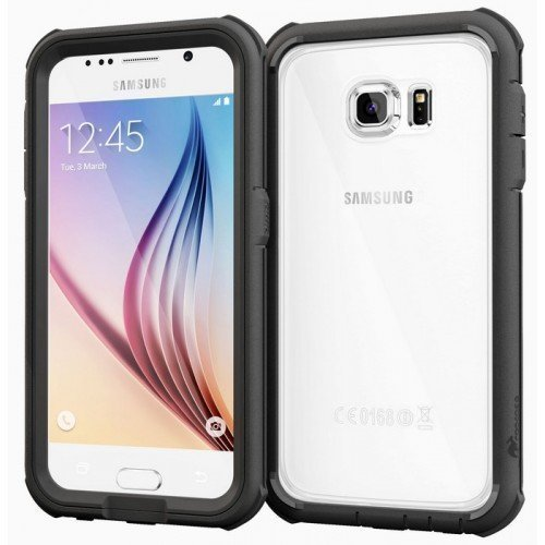 roocase Glacier Tough Hybrid PC TPU Rugged Suojakotelo Samsung Galaxy S6 Black